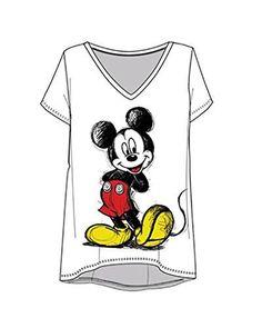 d7762b49 Disney Mickey Mouse Scribble Women Junior Cut Fashion V-Neck T shirt, White  Tee