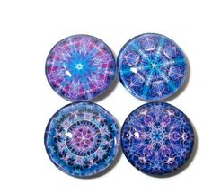 Magnet Set, Colorful Mandalas in Purple, Blue #gifts