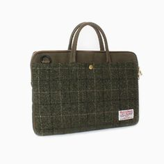 Sweetch slim briefcase khaki x Harris tweed