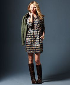 Dress with Books!  Fall Trend Report Prep Set Printed Shirtdress & Jacket Look - Women - Macy's