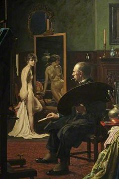 In the Studio No. IV: Self Portrait by Howard Somerville (1874-1952)