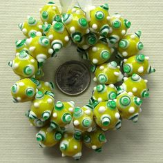 Indian Lampwork Yellow Dotted Glass Beads by XOSupplies $6.86
