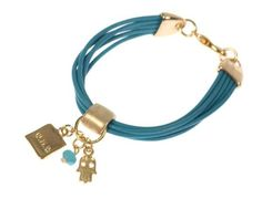 This bracelet is a truly unique piece - it's unlike anything you've seen before!  On a bold robust multiple leather cord with gold plated clasps and links hangs a hamsa, a turquoise bead, and a pendant engraved with one of the Kab
