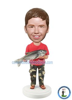 Custom Fishing Bobbleheads Boy Find unique Christmas presents and gift ideas for men, women and kids at Custom Bobbleheads.