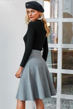 Elegant A-line knitted women skirt - Black   S dab71e2e3594