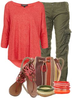 """Military Pants"" cargo pants outfit option with brightly colored drape shirt. Summer."