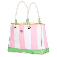 Lily Pulitzer pink and green Cabana striped tote