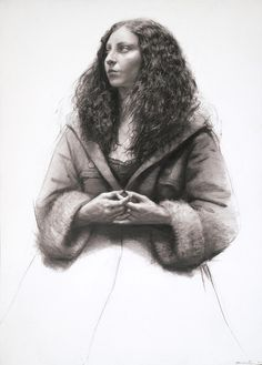 Kristen with Mask, 2012, oil on paper, 23 x 10 1/2 inches