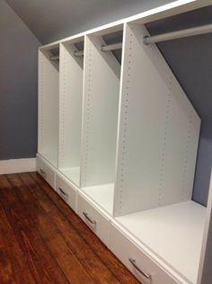 Discover thousands of images about Attic Closets - Auburndale, Ma 02466 - Craftsman - Armoire et Dressing - Boston - par Rich Fairfull Custom Closet & Storage Design Loft Storage, Closet Storage Design, Bedroom Loft, Narrow Closet, Closet Designs, Slanted Ceiling Closet, Closet Design