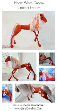 043 Horse White Dream with wire frame - Amigurumi Crochet Pattern PDF file by…