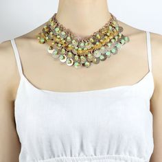 "Amazon.com: OKAJEWELRY Chunky Gold Sequin Bib Statement Necklace, 14.17"": Clothing"