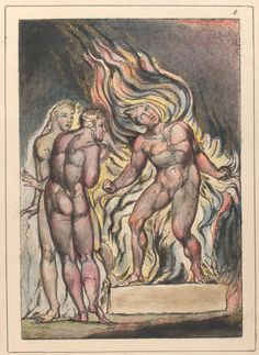 "William Blake, ""Then Los & Enitharmon knew that Satan is Urizen.the radiance around him was remembered as feathers to ancient people William Blake Art, English Poets, British Literature, New York Public Library, Free Illustrations, Gravure, Satan, Great Artists, Printmaking"