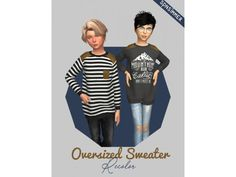 The Sims 4 Kids Oversized Sweater by spnsimmer Toddler Cc Sims 4, Sims 4 Toddler Clothes, Sims 4 Mods Clothes, Sims 4 Cc Kids Clothing, Kids Clothes Boys, Sims Mods, My Sims, Sims Cc, The Sims 4 Bebes