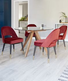 Add a pop of brass, velvet and wood to your interiors. The Clover in Claret Red paired with the Valencia Glass and Walnut Dining Table brings opulence and style to your home. 4 Seater Dining Table, Walnut Dining Table, Dinning Table, Dining Area, Glass Dining Set, Glass Table, Blue Velvet Chairs, Green Velvet, Ikea High Chair