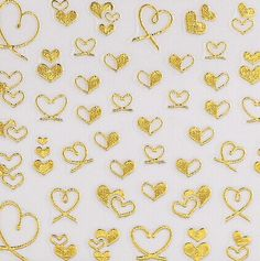 Charming Mixed Heart Golden 3D Nail Art Decoration Sticker Color: GOLDEN Category: Beauty > Nails & Tools > Stickers & Decals  #3dnailartstikers #3dnail #artnail #stikers #bridgat.com