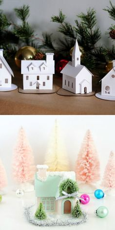 Dress up a holiday village - tips and fave product recommendations for glittering and adding realistic snow to cute paperboard putz houses.