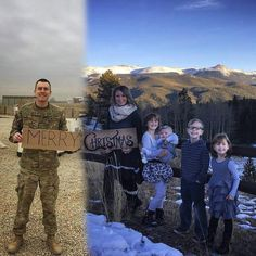 A military wife and mom in Colorado has come up with a unique way to include her deployed husband in this year's family Christmas photo Military Family Pictures, Military Couples, Military Wife, Family Photos, Military Families, Christmas Photos, Family Christmas, Puerto Rico, Army Mom