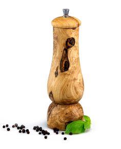 Salz- und Pfeffermühle flach aus Olivenholz 21 cm   treevoli