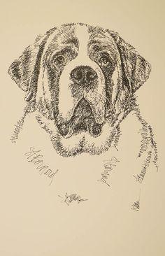 Saint Bernard dog art portrait drawing from words. by drawDOGS