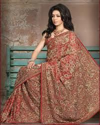 bridal sarees are, generally, heavily embroidered with loads of sequin, moti, stone, thread and various other kinds of stylish work being carved.