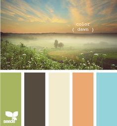 Color Scheme ... Brown, Orange, Blue, Green ~ perfect for the living room!