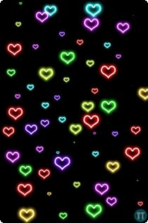 Colorful Neon Heart Backgrounds