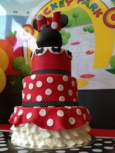 Gorgeous Minnie Mouse Birthday Party cake! See more party ideas at CatchMyParty.com! by tammy