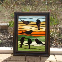 Stained Glass Mosaic Birds Wire Frame Repurpose Silhouette Window