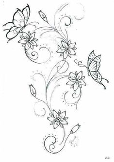 Schmetterling - Most beautiful tattoo list Butterfly Drawing, Butterfly Tattoo Designs, Dragonfly Tattoo, Embroidery Patterns, Hand Embroidery, Embroidery Tattoo, Beaded Embroidery, Body Art Tattoos, Small Tattoos