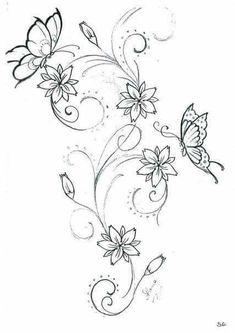 Tattoo Vorlage Mit Schmetterling Und Hibiskus Blumen Meine Tattoo
