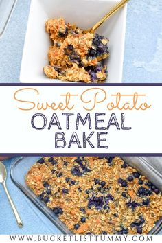 This Sweet Potato Oatmeal Bake with Blueberries is the perfect quick and nutritious breakfast option great for your meal prep oatmeal needs. Its ready in 30 minutes great for crowds and the perfect pre-workout snack! It's even great for kids! Baked Oatmeal Recipes, Sweet Potato Recipes, Breakfast Bake, Breakfast Ideas, Vegan Breakfast, Breakfast Recipes, Brunch Recipes, Snack Recipes, Snacks