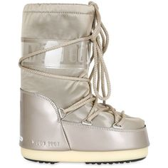 Moon Boot Kids-girls Nylon Satin Snow Boots (910 NOK) ❤ liked on Polyvore featuring gold