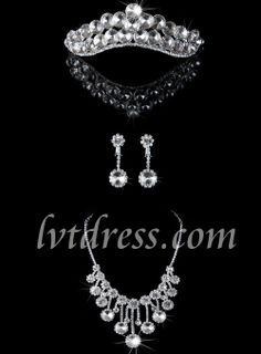 Occasion: Wedding Material: Rhinestone, Alloy Set Include: Tiara, Earrings, Necklaces