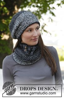 "Knitted DROPS hat and neck warmer with textured pattern in ""Fabel"" and ""Kid-Silk"". ~ DROPS Design"