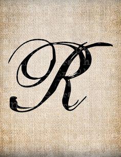 Antique Letter R Script Monogram Digital Download for Dictionary Pages, Papercrafts, Transfer, Pillows, etc.Burlap No 7547