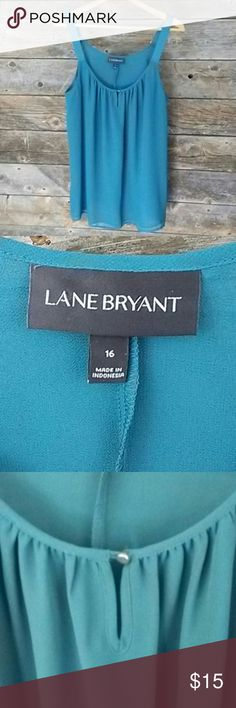 Lane Bryant 16 Double Sheer Cami with Wide Band Lane Bryant 16 Double Sheer Cami with Wide Band Straps. Chrome Adjustable details. Key Hole button front. Great to layer for work and with jeans. One of Lane Bryants quality pieces  **Please take a look at my other LB items**  **All Lane Bryant cloths below $15.** Lane Bryant Tops Camisoles