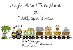 Jungle Animal Train Wall Mural for baby boy safari transportation nursery or children's zoo animal bedroom decor #decampstudios