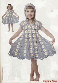 Волшебные петельки: Платье из ромашковых квадратов