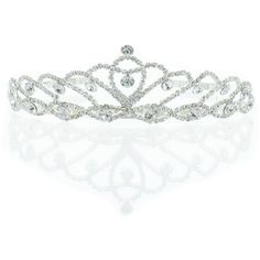 Kate Marie 'Iris' Silver Rhinestone Crown Tiara ($27) ❤ liked on Polyvore featuring accessories, hair accessories, silver, sparkly hair accessories, silver tiara, silver hair accessories, headband hair accessories and head wrap headband
