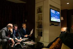"""Nov. 6, 2012 (Election Day)  """"While he waited for the concession call from Gov. Mitt Romney, the President worked on his acceptance speech with Jon Favreau, Director of Speechwriting, and campaign advisor David Axelrod at a Chicago hotel."""" (Official White House Photo by Pete Souza)"""