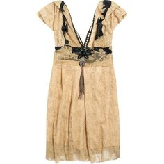 antique, brocante and fashion treasures ❤ liked on Polyvore featuring dresses, twenties dress, peach lace dress, 1920s style dress, 20s dresses and beige lace dress