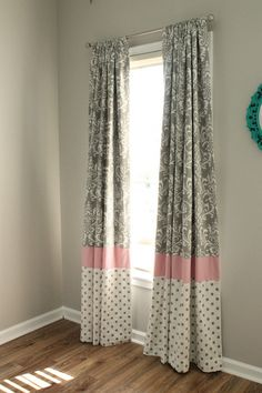 Gray and white Damask with accent pink Pole by babymilanbedding