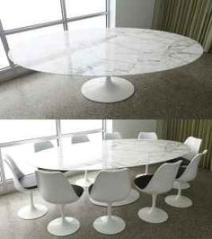 Saarinen Large Dining Table Marble Carrera Oval - Bauhaus UK