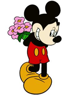 Minnie has a bouquet of flowers for Minnie Mickey Mouse Pictures, Mickey Mouse And Friends, Mickey Minnie Mouse, Walt Disney, Mickey Cartoons, Disney Clipart, Mickey Mouse Wallpaper, Disney Images, Disney Dream