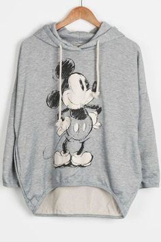 Never settle for second, boo. Product Code: CSY309 Details: - Mickey Mouse printing - Drawstring hooded - High low design - Drop shoulder - Long sweatshirt - Regular wash - Fabric: 100%Cotton REFERENC