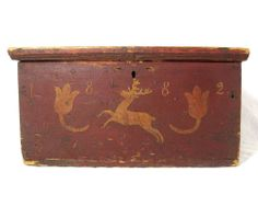 Antique C 1882 Stag Tulip Painted Document Box Folk Art Primitive Chest. Painted Trunk, Painted Chest, Painted Boxes, Wooden Boxes, Primitive Furniture, Primitive Antiques, Primitive Decor, Antique Furniture, Country Primitive