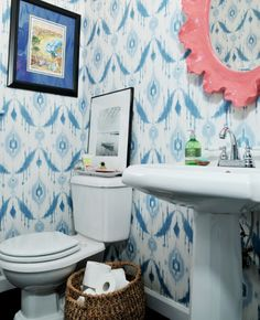 Thibaut Wallpaper Avalon Collection - Island Ikat in Blue