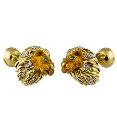 TIFFANY & CO. Emerald Diamond and Enamel Gold Lion Cufflinks