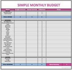 Free Monthly Budget Template | >>Frugal Living<< | Pinterest ...
