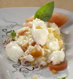 Chef Gennaro Esposito - Risotto al pomodoro cuore di bue con limone candito, calamaretti e provola affumicata